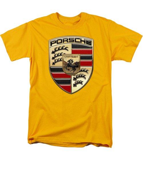 Porsche - 3d Badge On Yellow Men's T-Shirt  (Regular Fit) by Serge Averbukh