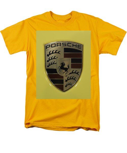 Porsche Emblem On Racing Yellow Men's T-Shirt  (Regular Fit) by Sebastian Musial