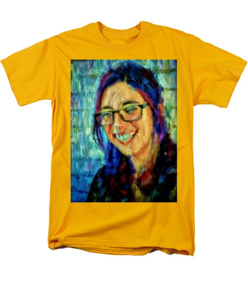 Men's T-Shirt  (Regular Fit) featuring the painting Portrait Painting In Acrylic Paint Of A Young Fresh Girl With Colorful Hair In A Library With Books  by MendyZ