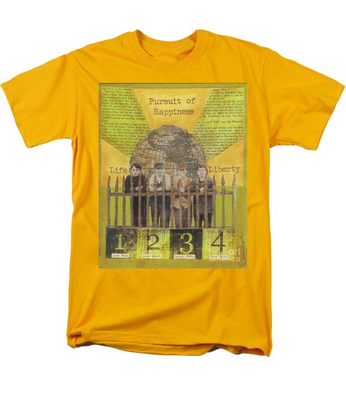 Men's T-Shirt  (Regular Fit) featuring the mixed media Pursuit Of Happiness by Desiree Paquette