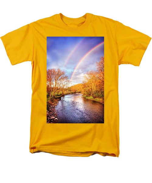 Men's T-Shirt  (Regular Fit) featuring the photograph Rainbow Over The River II by Debra and Dave Vanderlaan