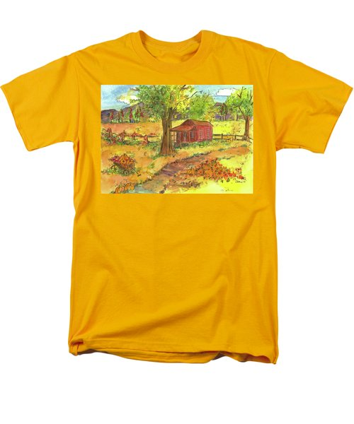 Men's T-Shirt  (Regular Fit) featuring the painting Red Cabin In Autumn  by Cathie Richardson