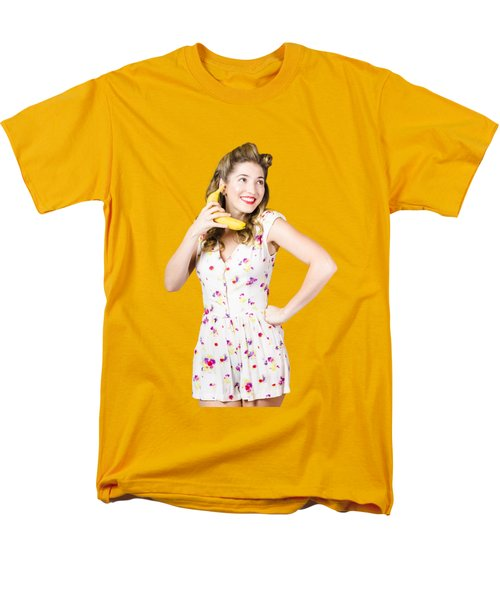 Retro Pin Up Girl Chatting On Banana Telephone Men's T-Shirt  (Regular Fit) by Jorgo Photography - Wall Art Gallery