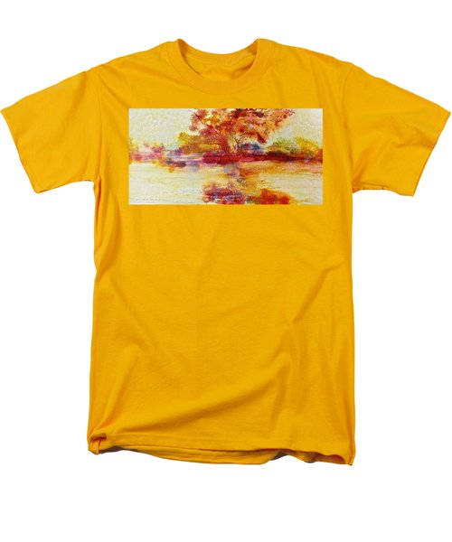 Riverscape In Red Men's T-Shirt  (Regular Fit) by Carolyn Rosenberger