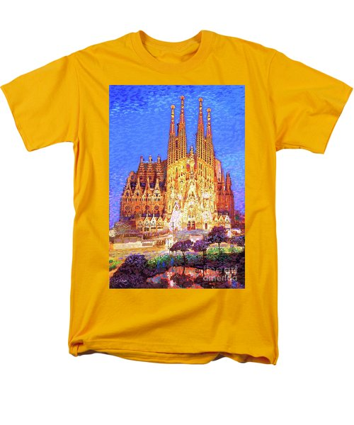 Men's T-Shirt  (Regular Fit) featuring the painting Sagrada Familia At Night by Jane Small