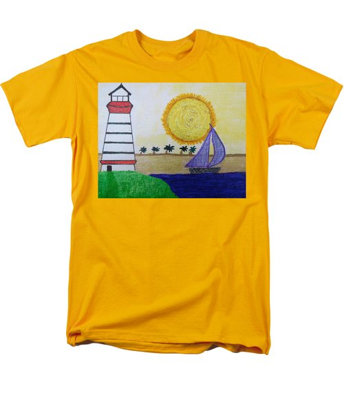 Sail Boat With Purple Sails Men's T-Shirt  (Regular Fit)