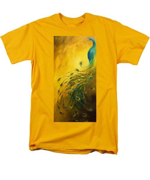 Men's T-Shirt  (Regular Fit) featuring the painting Show Off 1 Vertical Peacock by Dina Dargo