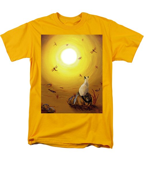 Siamese Cat With Red Dragonflies Men's T-Shirt  (Regular Fit) by Laura Iverson