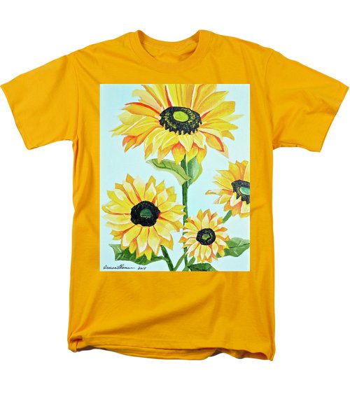 Men's T-Shirt  (Regular Fit) featuring the painting Sunflowers  by Donna Blossom