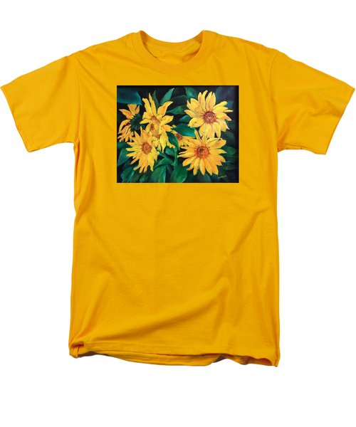 Men's T-Shirt  (Regular Fit) featuring the painting Sunflowers by Ellen Canfield