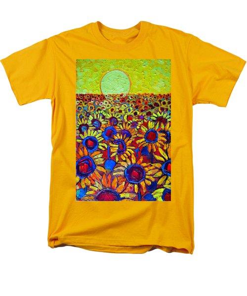 Sunflowers Field At Sunrise Men's T-Shirt  (Regular Fit) by Ana Maria Edulescu
