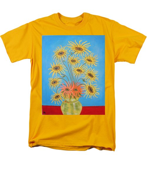 Sunflowers On Blue Men's T-Shirt  (Regular Fit) by Marie Schwarzer