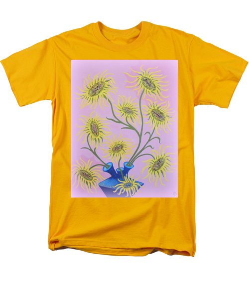 Sunflowers On Pink Men's T-Shirt  (Regular Fit) by Marie Schwarzer
