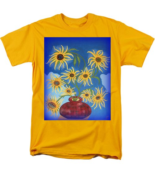 Sunflowers On Navy Blue Men's T-Shirt  (Regular Fit) by Marie Schwarzer