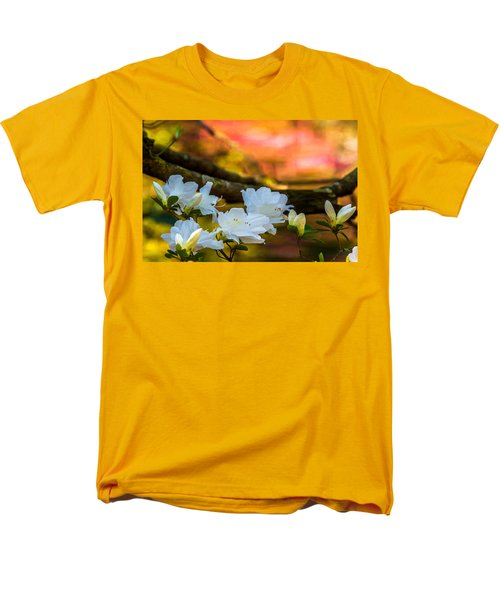Men's T-Shirt  (Regular Fit) featuring the photograph White Azaleas In The Garden by John Harding