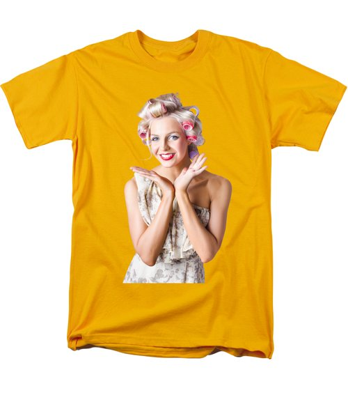 Woman With Rollers In Hair Men's T-Shirt  (Regular Fit)