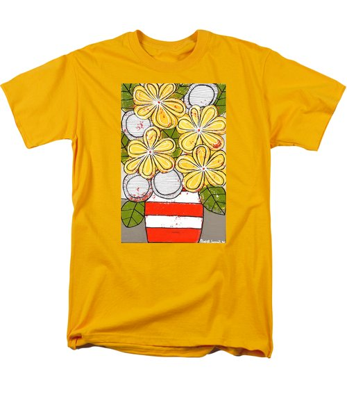 Yellow And White Flowers Men's T-Shirt  (Regular Fit)