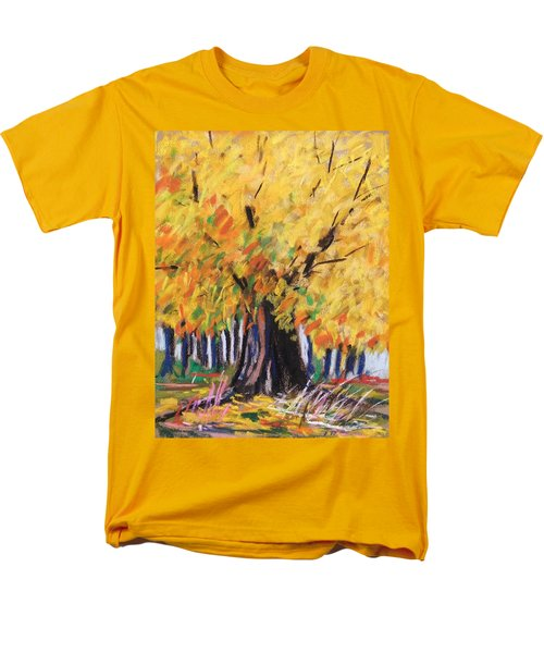 Men's T-Shirt  (Regular Fit) featuring the painting Yellow Maple Wet Trunk by John Williams