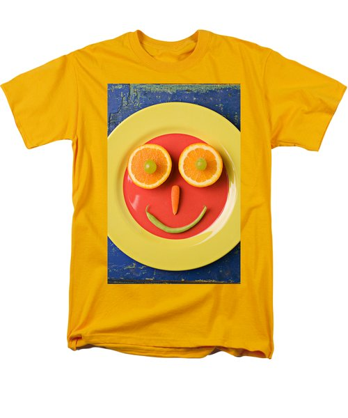 Yellow Plate With Food Face Men's T-Shirt  (Regular Fit) by Garry Gay