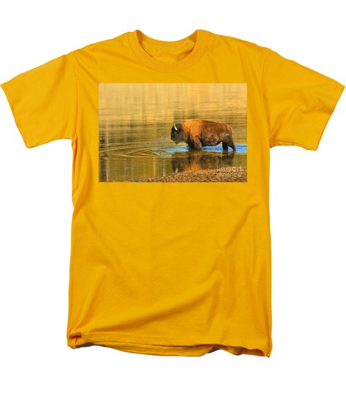 Men's T-Shirt  (Regular Fit) featuring the photograph Yellowstone Solo Swimmer by Adam Jewell