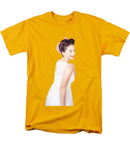 Men's T-Shirt  (Regular Fit) featuring the photograph Young Happy Retro Woman Wearing Red Lipstick by Jorgo Photography - Wall Art Gallery