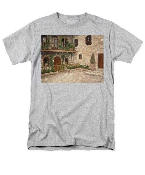 Greek Courtyard - Agiou Stefanou Monastery -balcony Men's T-Shirt  (Regular Fit) by Jan Dappen