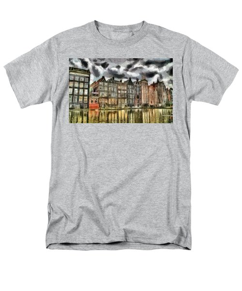 Men's T-Shirt  (Regular Fit) featuring the painting  Amsterdam Water Canals by Georgi Dimitrov