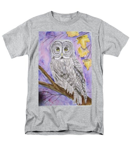 Men's T-Shirt  (Regular Fit) featuring the painting  Grey Owl by Belinda Lawson