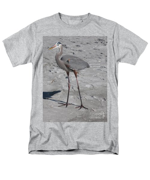 Great Blue Heron On The Beach Men's T-Shirt  (Regular Fit) by Christiane Schulze Art And Photography