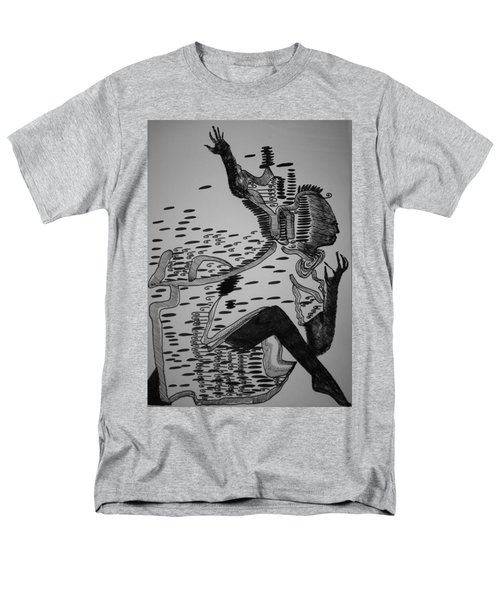 Men's T-Shirt  (Regular Fit) featuring the drawing Mbakumba Dance - Zimbabwe by Gloria Ssali