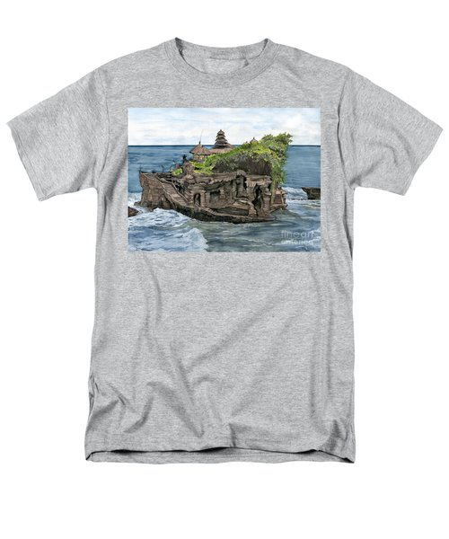 Men's T-Shirt  (Regular Fit) featuring the painting Tanah Lot Temple Bali Indonesia by Melly Terpening