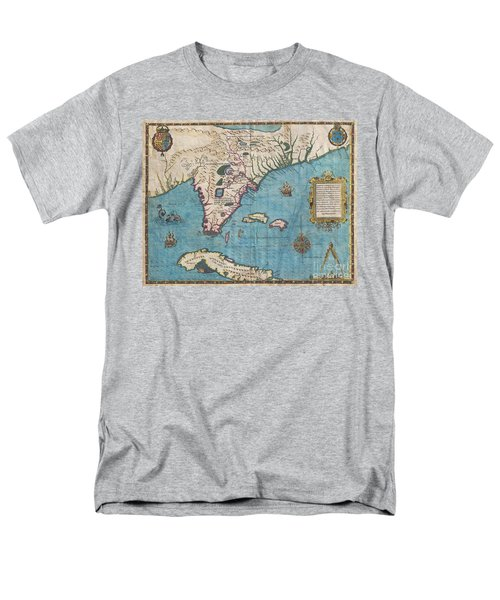 1591 De Bry And Le Moyne Map Of Florida And Cuba Men's T-Shirt  (Regular Fit) by Paul Fearn