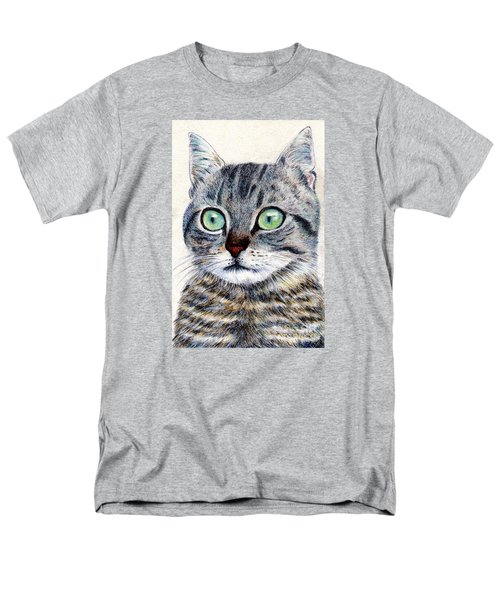 Men's T-Shirt  (Regular Fit) featuring the painting A Grey Tabby by Jingfen Hwu