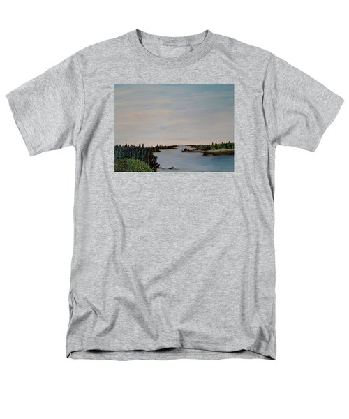 Men's T-Shirt  (Regular Fit) featuring the painting A River Shoreline by Marilyn  McNish