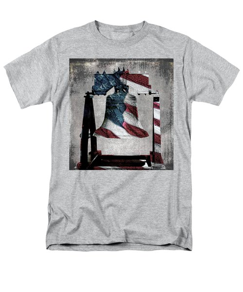 All American Liberty Bell Art_denim Men's T-Shirt  (Regular Fit) by Lesa Fine