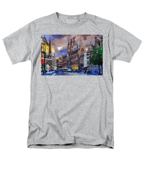 Men's T-Shirt  (Regular Fit) featuring the painting Amsterdam Daily Life by Georgi Dimitrov