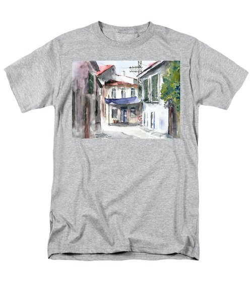 Men's T-Shirt  (Regular Fit) featuring the painting An Authentic Street In Urla - Izmir by Faruk Koksal
