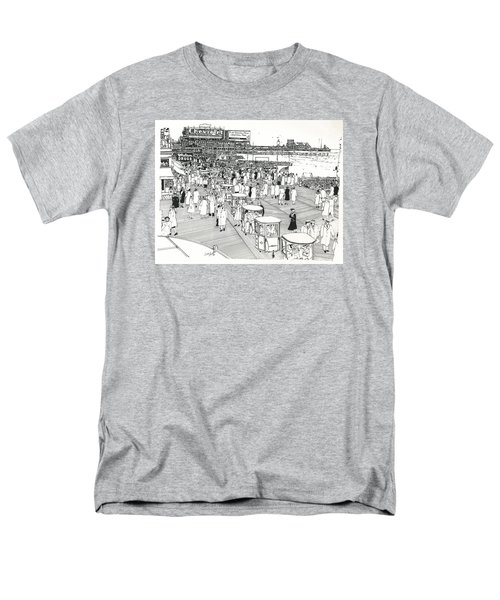 Men's T-Shirt  (Regular Fit) featuring the drawing Atlantic City Boardwalk 1940 by Ira Shander