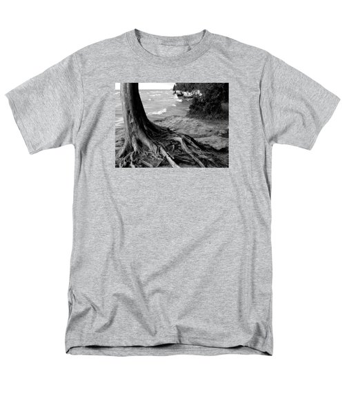 B And W Cedar Roots At Cave Point Men's T-Shirt  (Regular Fit) by David T Wilkinson