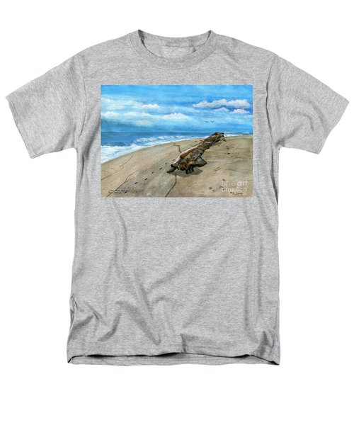 Men's T-Shirt  (Regular Fit) featuring the painting Beach Drift Wood by Melly Terpening
