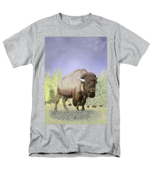 Men's T-Shirt  (Regular Fit) featuring the digital art Bison On The Range by Thomas J Herring