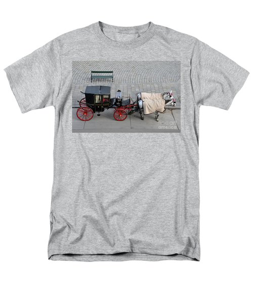 Men's T-Shirt  (Regular Fit) featuring the photograph Black And Red Horse Carriage - Vienna Austria  by Imran Ahmed