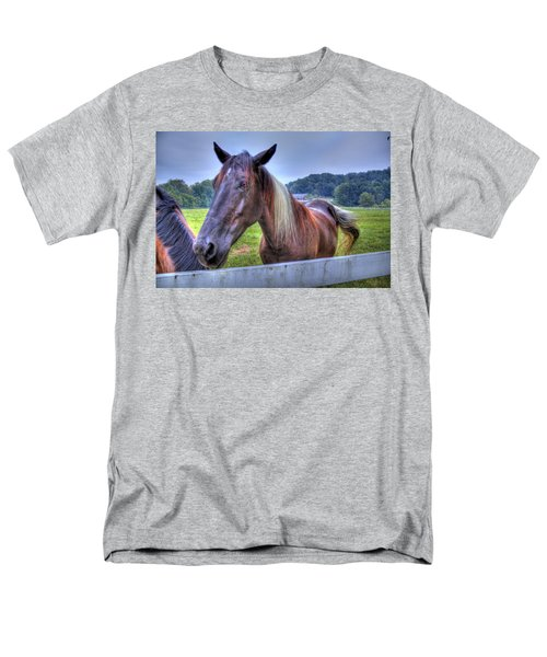 Men's T-Shirt  (Regular Fit) featuring the photograph Black Horse At A Fence by Jonny D