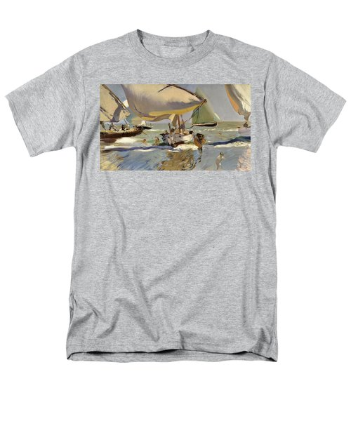 Boats On The Shore Men's T-Shirt  (Regular Fit) by Joaquin Sorolla y Bastida