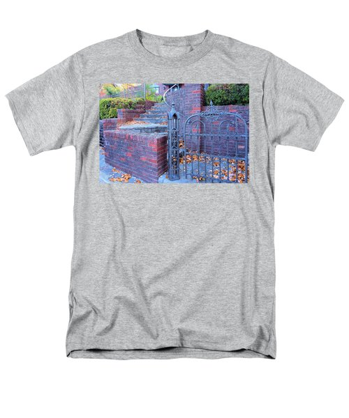 Men's T-Shirt  (Regular Fit) featuring the photograph Brick Wall With Wrought Iron Gate by Janette Boyd