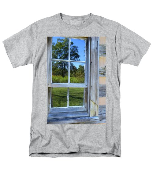 Men's T-Shirt  (Regular Fit) featuring the photograph Cabin Reflections by Larry Bishop