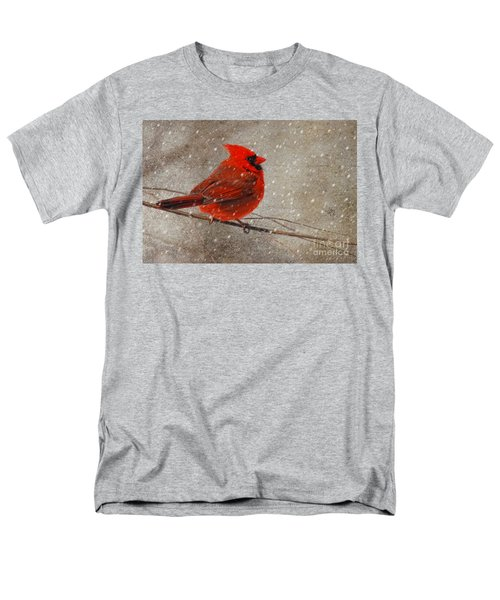 Cardinal In Snow Men's T-Shirt  (Regular Fit) by Lois Bryan