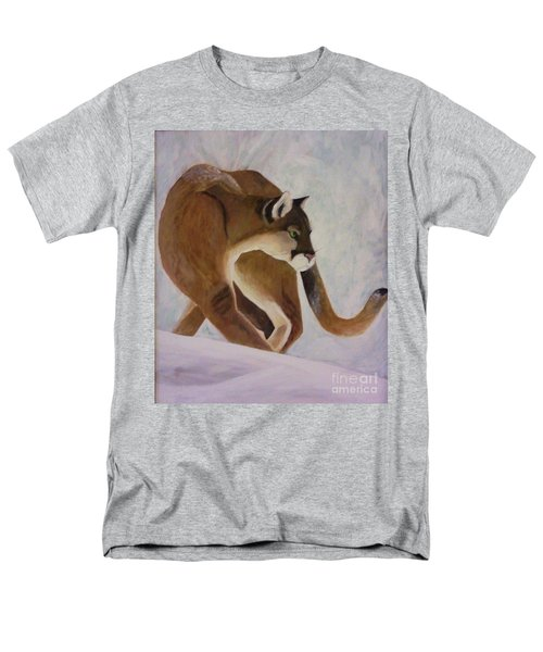 Men's T-Shirt  (Regular Fit) featuring the painting Cat In Snow by Christy Saunders Church
