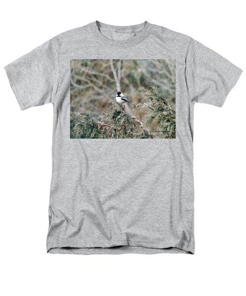 Men's T-Shirt  (Regular Fit) featuring the photograph Chickadee In Cedar by Brenda Brown