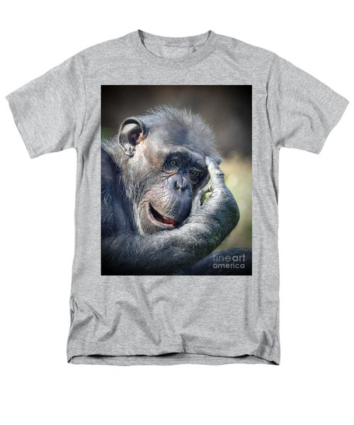 Men's T-Shirt  (Regular Fit) featuring the photograph Chimpanzee Thinking by Savannah Gibbs